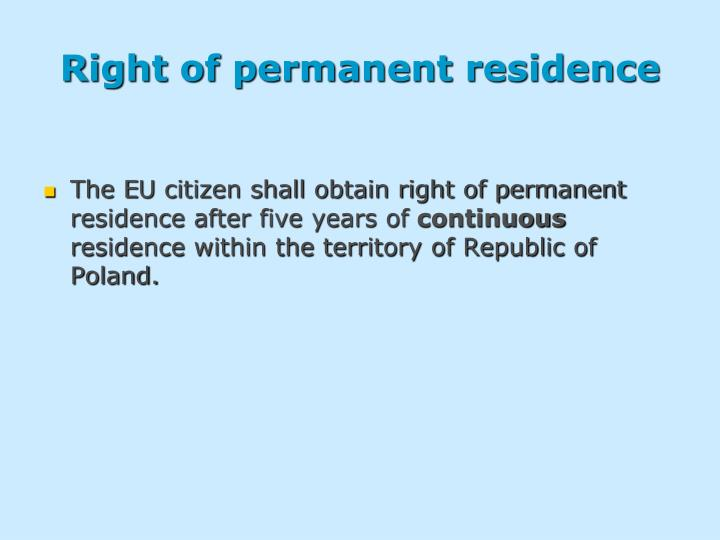Right of permanent residence