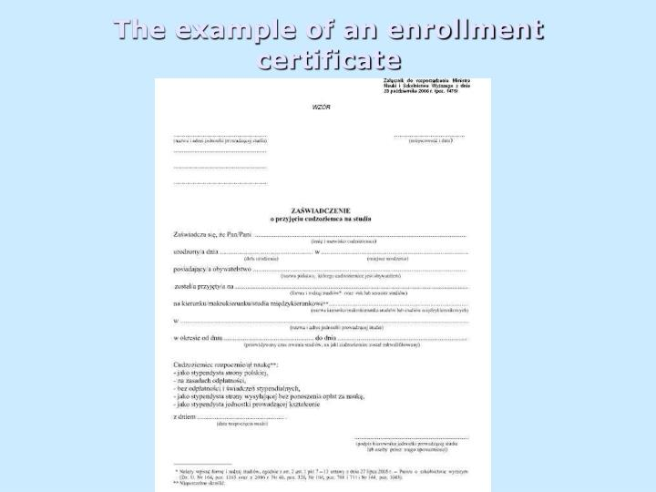 The example of an enrollment certificate