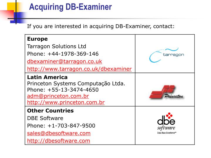 Acquiring DB-Examiner