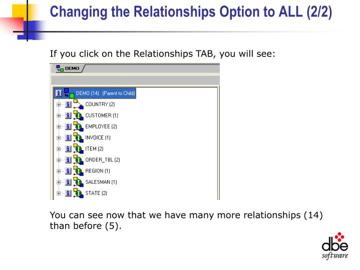 Changing the Relationships Option to ALL (2/2)