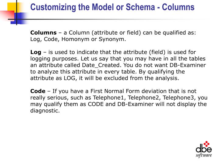 Customizing the Model or Schema - Columns