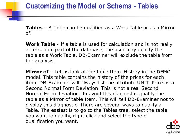 Customizing the Model or Schema - Tables