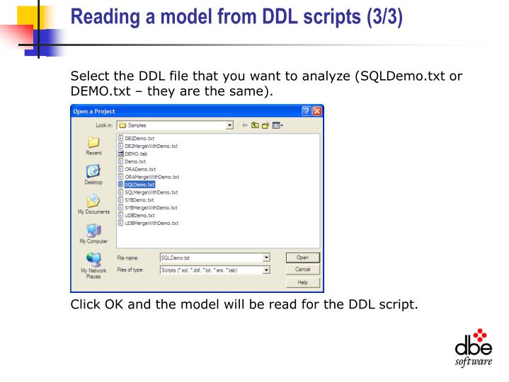 Reading a model from DDL scripts (3/3)