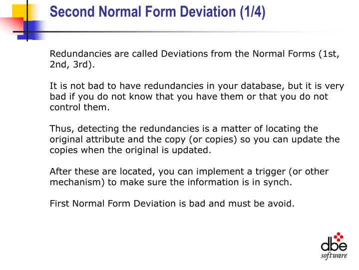 Second Normal Form Deviation (1/4)