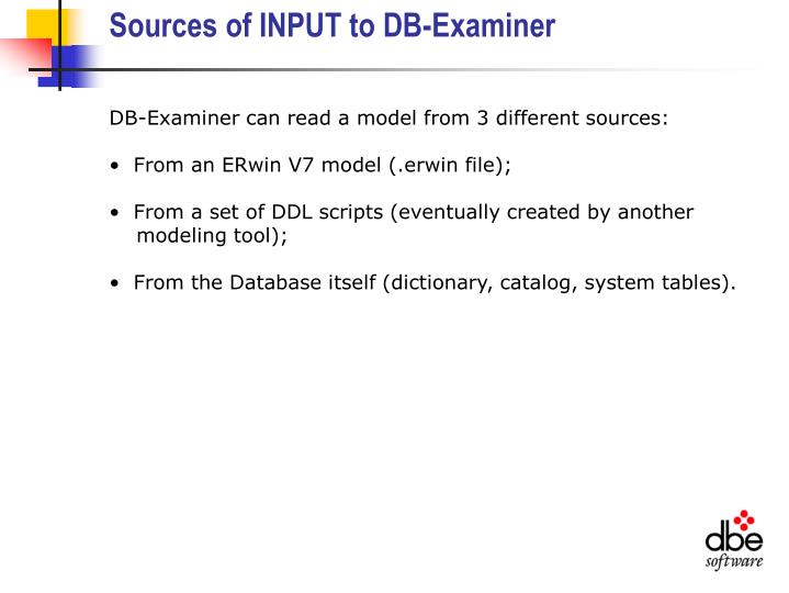 Sources of INPUT to DB-Examiner