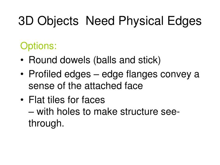 3D Objects  Need Physical Edges