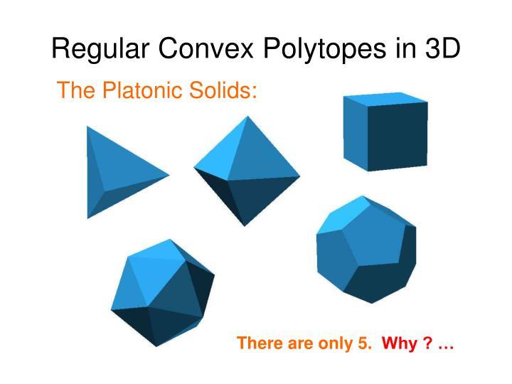 Regular Convex Polytopes in 3D