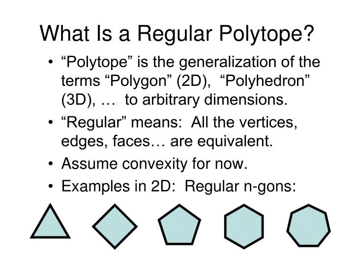What Is a Regular Polytope?