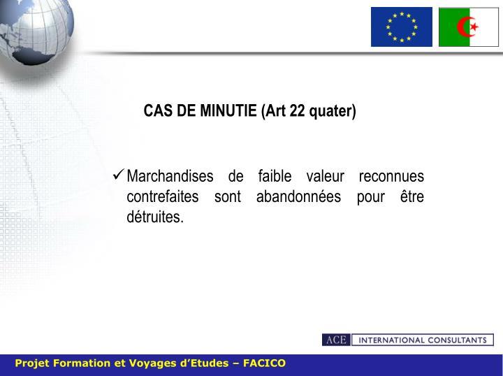 CAS DE MINUTIE (Art 22 quater)
