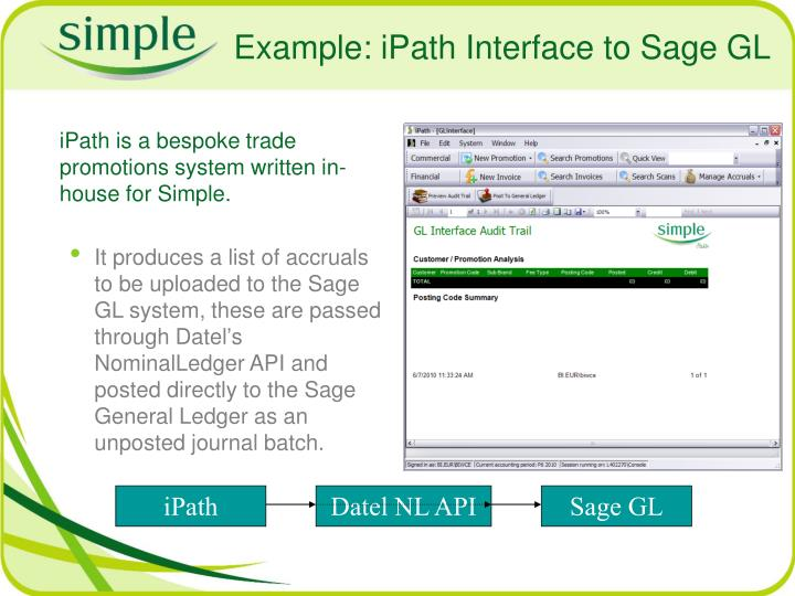 Example: iPath Interface to Sage GL