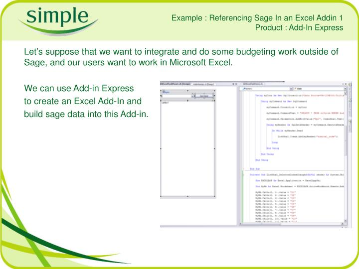 Example : Referencing Sage In an Excel Addin 1