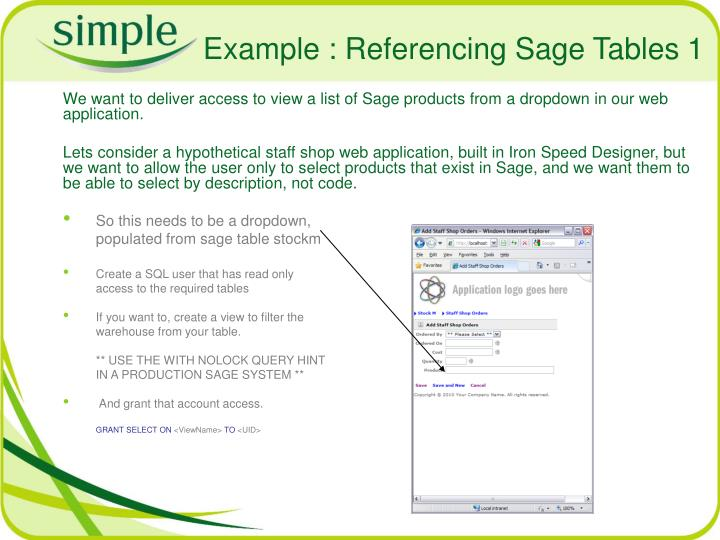 Example : Referencing Sage Tables 1