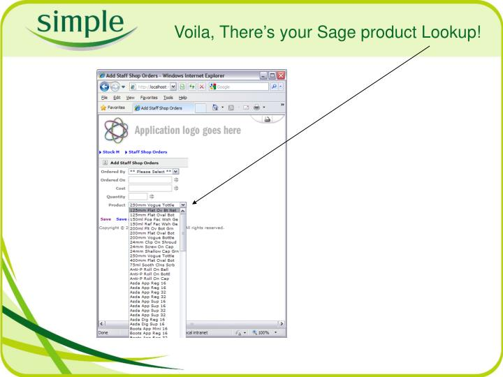 Voila, There's your Sage product Lookup!