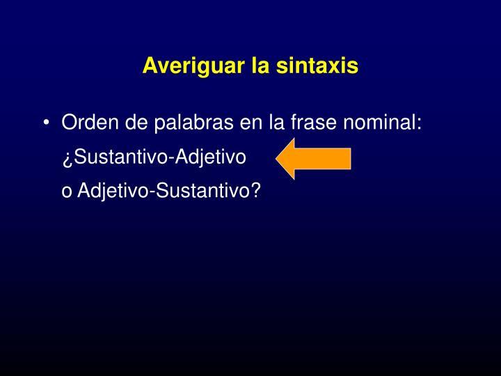 Averiguar la sintaxis