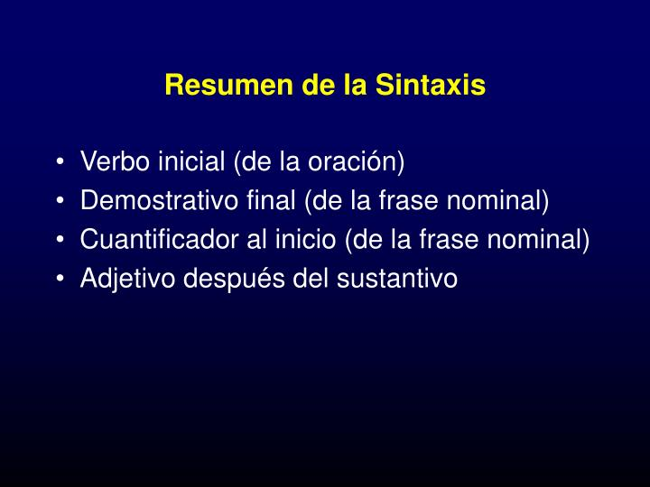 Resumen de la Sintaxis