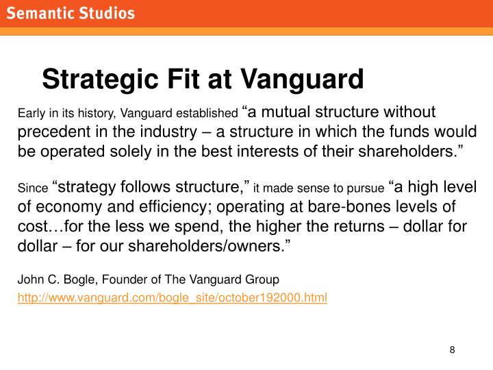 Strategic Fit at Vanguard