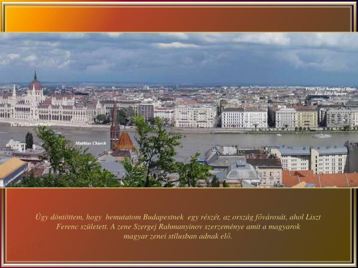 Úgy döntöttem, hogy  bemutatom Budapestnek  egy részét, az ország f
