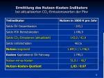 ermittlung des nutzen kosten indikators bei aktualisierten co 2 emissionswerten der pkw