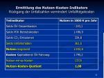 ermittlung des nutzen kosten indikators r ckgang der unfallzahlen vermindert unfallfolgekosten