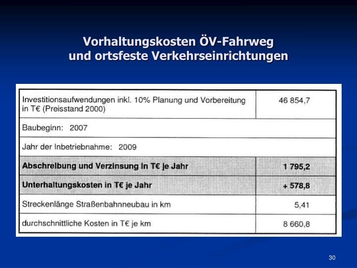 Vorhaltungskosten ÖV-Fahrweg