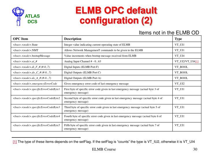 ELMB OPC default configuration (2)
