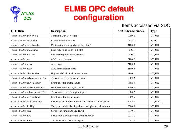 ELMB OPC default configuration