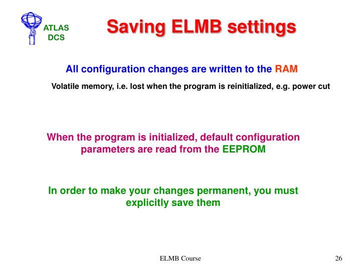 Saving ELMB settings