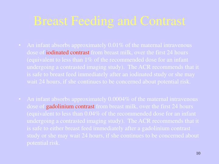 Breast Feeding and Contrast