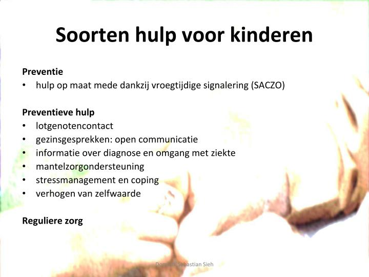 Soorten hulp voor kinderen