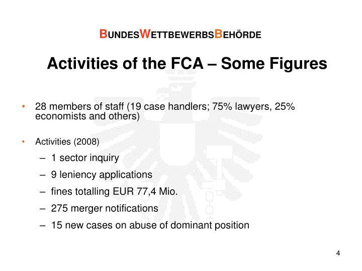 Activities of the FCA – Some Figures