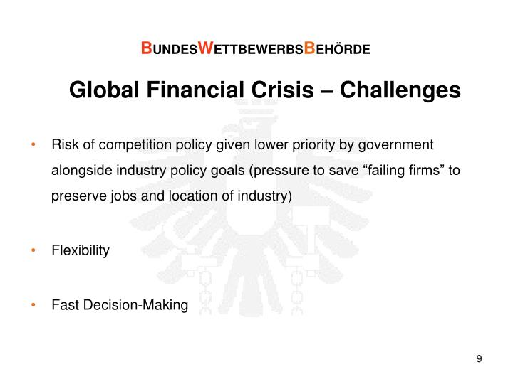 Global Financial Crisis – Challenges