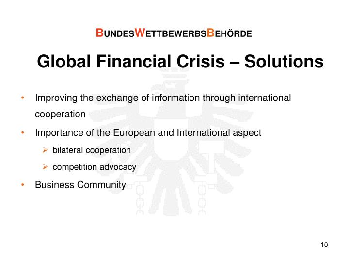 Global Financial Crisis – Solutions