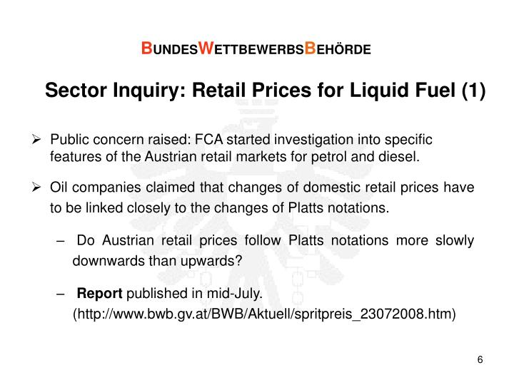 Sector Inquiry: Retail Prices for Liquid Fuel (1)