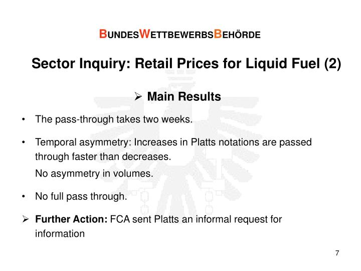 Sector Inquiry: Retail Prices for Liquid Fuel (2)