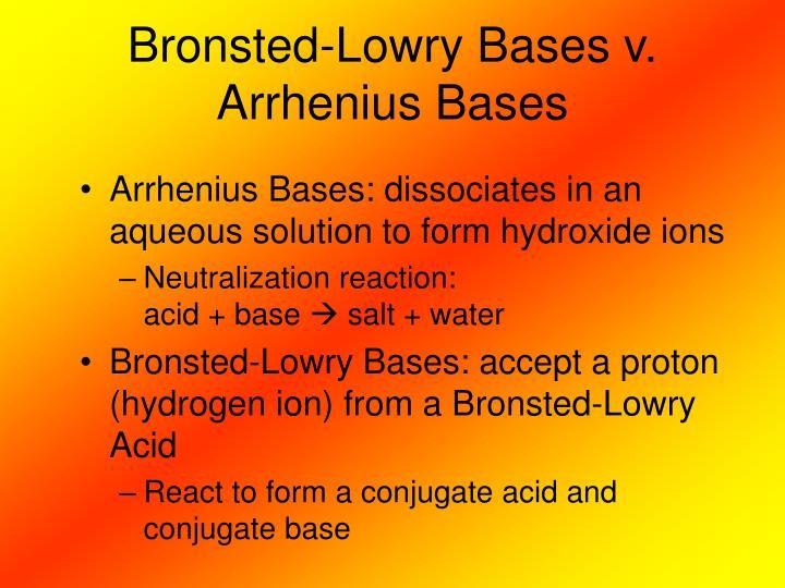 Bronsted-Lowry Bases v. Arrhenius Bases