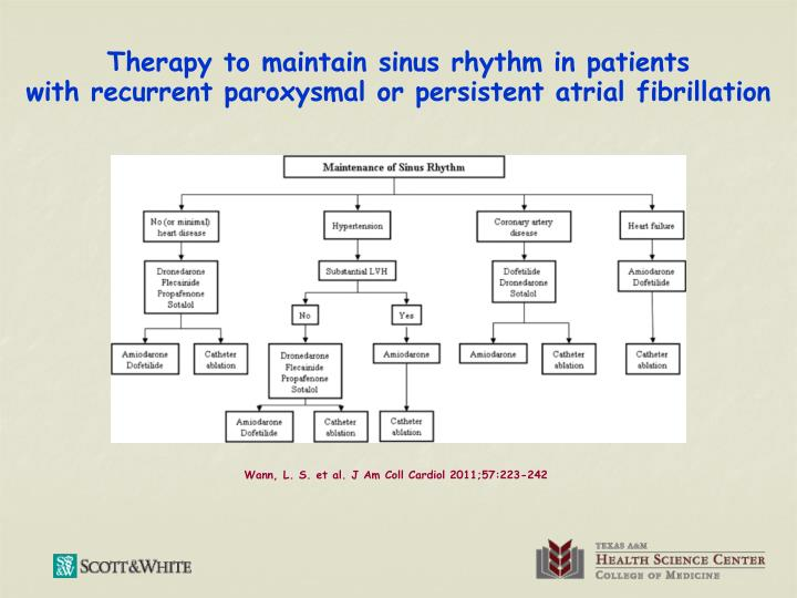 Therapy to maintain sinus rhythm in patients