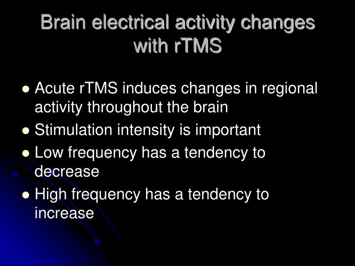 Brain electrical activity changes with rTMS