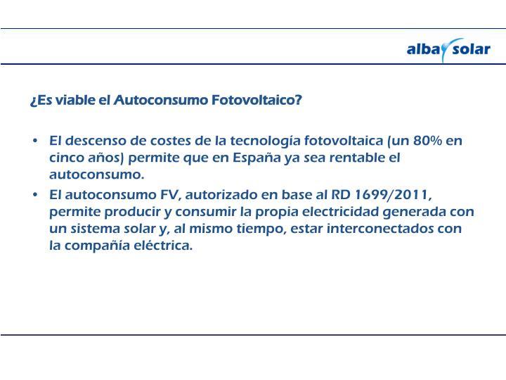 ¿Es viable el Autoconsumo Fotovoltaico?