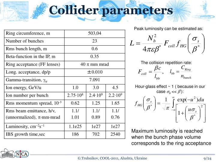 Collider parameters
