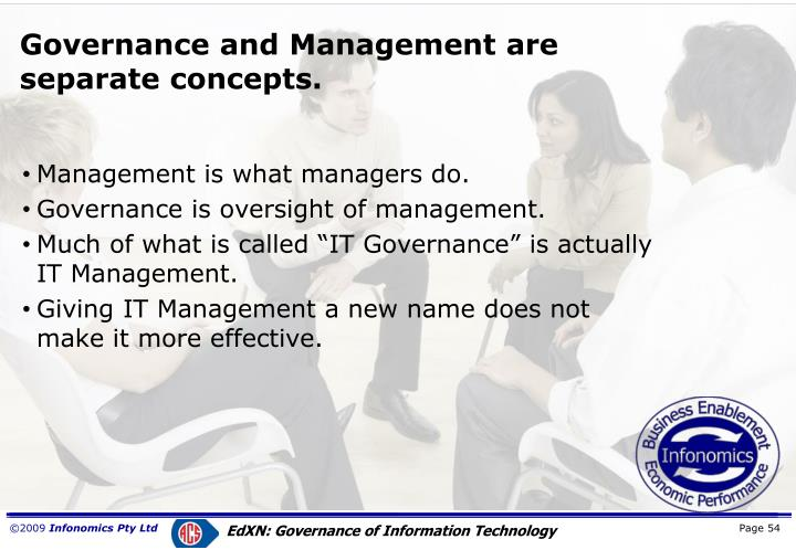 Governance and Management are separate concepts.