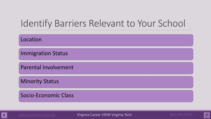 Identify Barriers Relevant to Your School