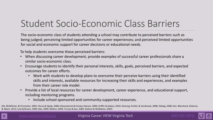 Student Socio-Economic Class Barriers