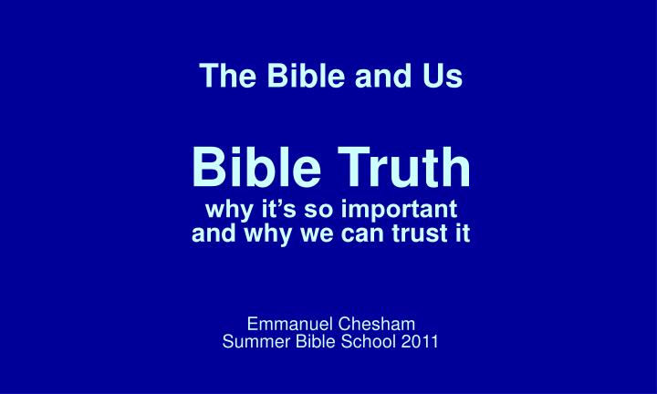 The Bible and Us
