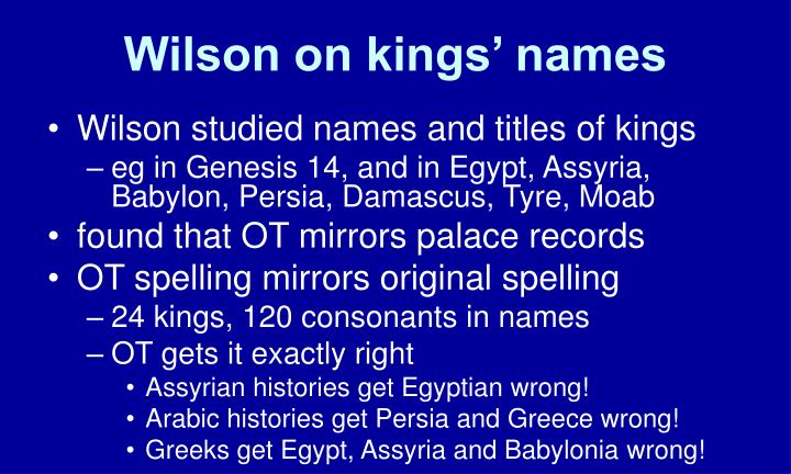 Wilson on kings' names