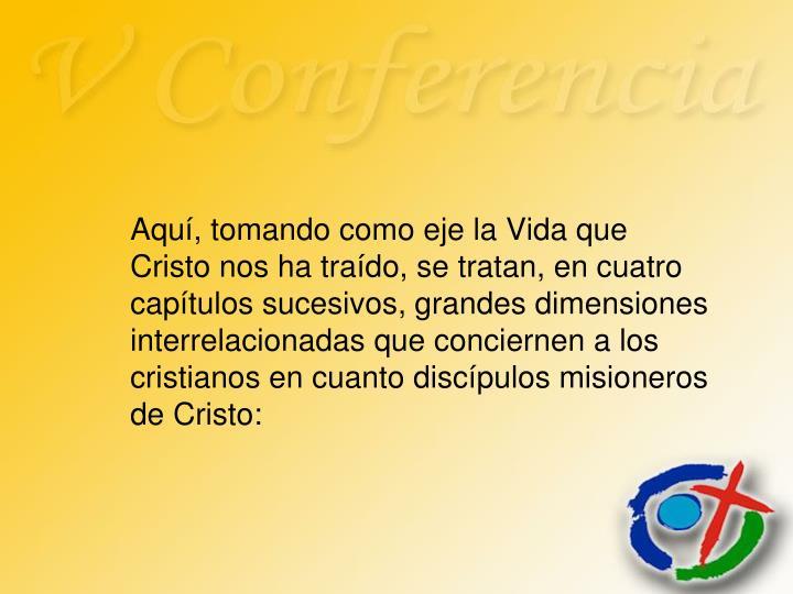 Aquí, tomando como eje la Vida que Cristo nos ha traído, se tratan, en cuatro capítulos sucesivos, grandes dimensiones interrelacionadas que conciernen a los cristianos en cuanto discípulos misioneros de Cristo: