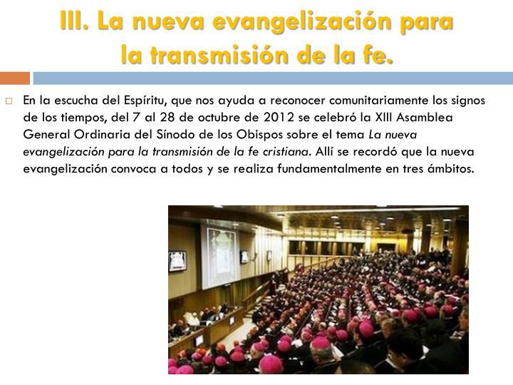 III. La nueva evangelización para