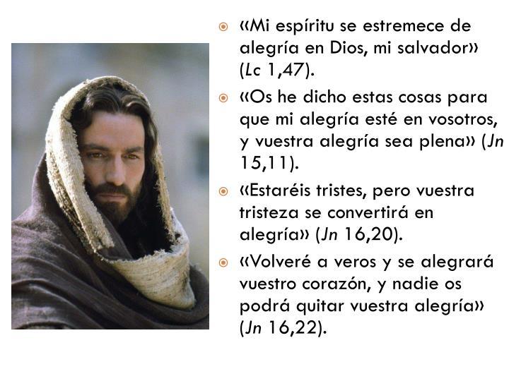 «Mi espíritu se estremece de alegría en Dios, mi salvador» (