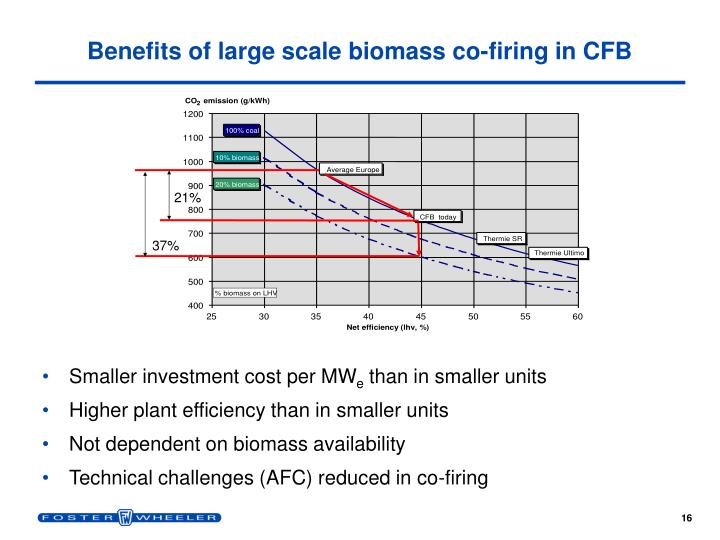 Benefits of large scale biomass co-firing in CFB