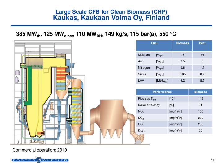 Large Scale CFB for Clean Biomass (CHP)