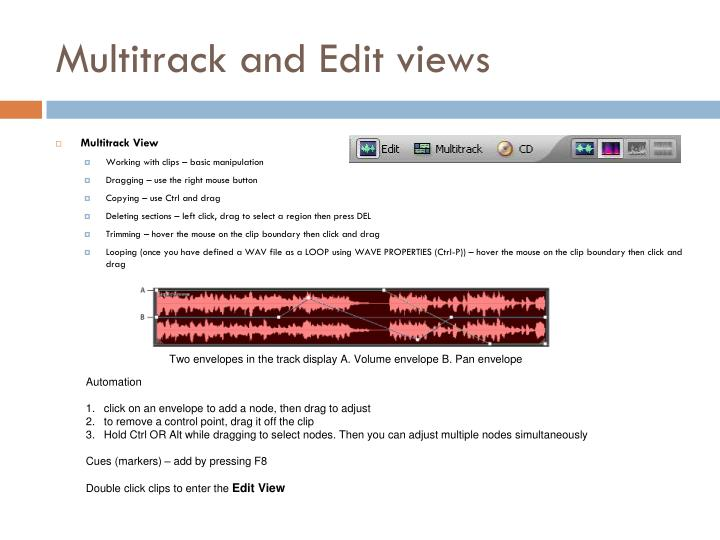 Multitrack and Edit views